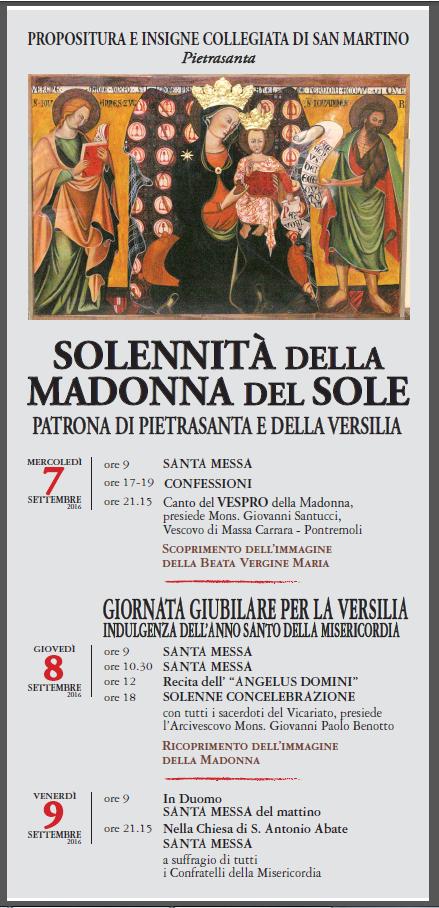 Madonna del Sole Manifesto 2016