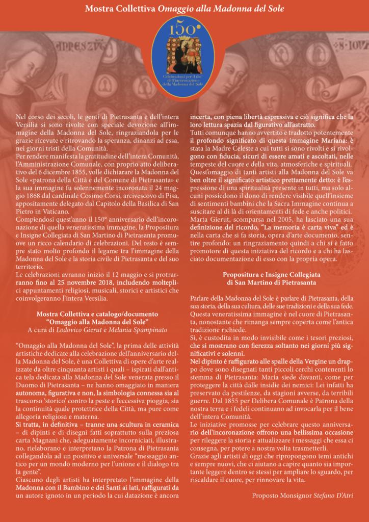 Manifesto Mostra Omaggio Madonna del Sole 2018
