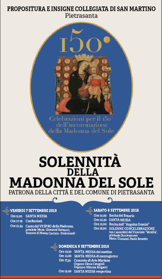 Programma Celebrazioni Madonna del Sole 7-8-9 Settembre 2018